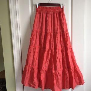 ZARA coral color 4 tier prairie skirt.   XS